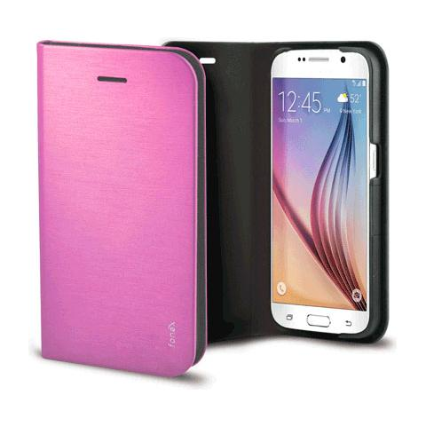 FONEX Shine Book Custodia a Libro per Galaxy S6 Edge Colore Rosa