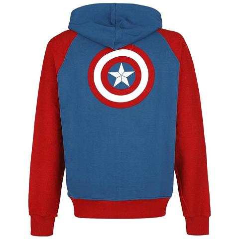BIOWORLD Captain America - Shield Logo Multicolor (Felpa Con Cappuccio Tg. 2XL)