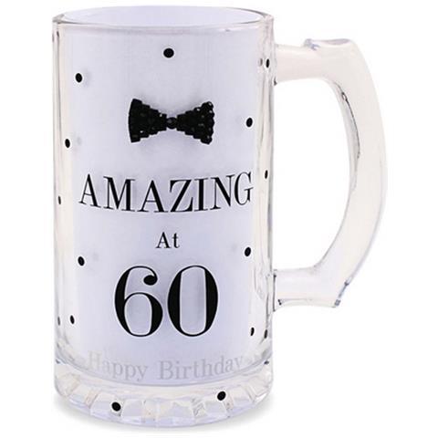Lesser Pavey Boccale Da Birra A Pois Per Compleanno (scritte In Inglese) (taglia Unica) (amazing At 60)