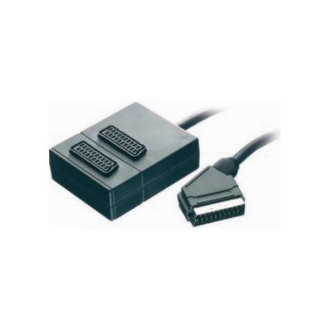 VIVANCO Scart socket / Scart plug, 0.2 m, 2 x Scart socket, Scart plug, Nero