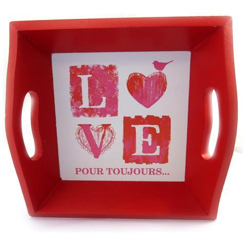 Les Trésors De Lily vassoio di legno 'love' rosso - [ m1669]