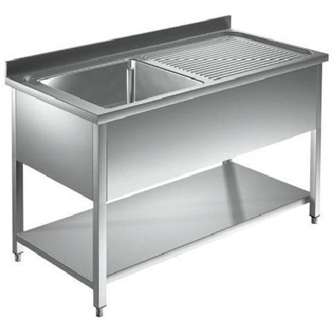 Lavello 120x60x85 Acciaio Inox 304 Su Gambe Ripiano Cucina Ristorante Rs5523