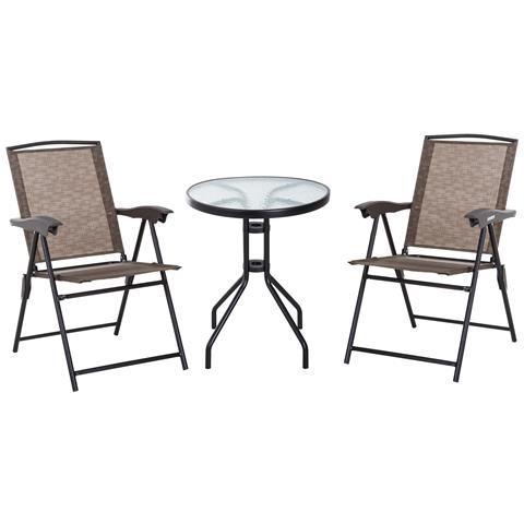 Set Arredo Per Esterni Con Tavolino In Vetro E Sedie Colore Marrone