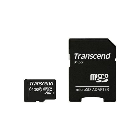TRANSCEND MicroSDXC da 64 GB Class 10 300x + SD adattatore