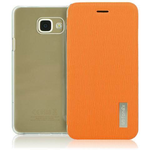 FONEX Crystal Slim Custodia a Libro con Back Trasparente per Galaxy A3 (6) Colore Arancio