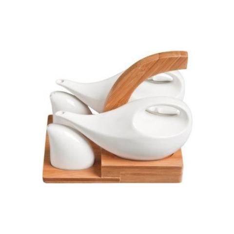 Fade Servizio Tavola Olio Aceto Sale Pepe In Porcellana Bianca E Bamboo Mod. Mythos Linea Cod. 48127