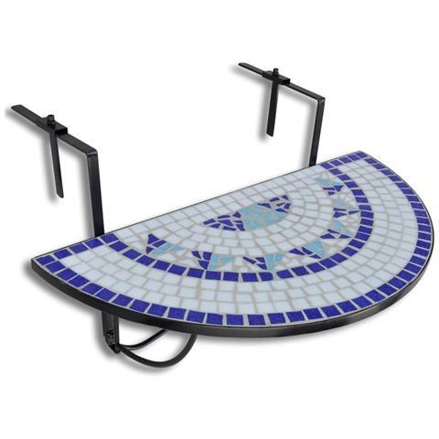 Mosaico Balcone Tabella D'attaccatura Semicircolare Blu Bianca