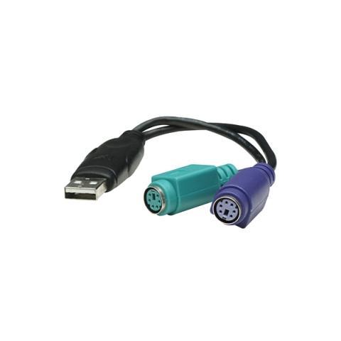 MANHATTAN Convertidor PS / 2 a USB USB A 2x Mini DIN 6 pin (PS / 2) Nero cavo di interfaccia e adattatore