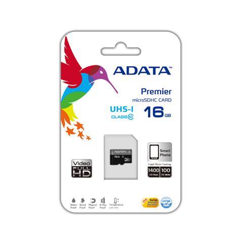 ADATA microSDHC, 16GB, Class 10, 0.25g, w / micro SD Adapter