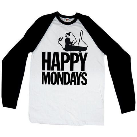 ROCK OFF Happy Mondays - Raglan / Baseball Logo Black White (T-Shirt Unisex Tg. M)