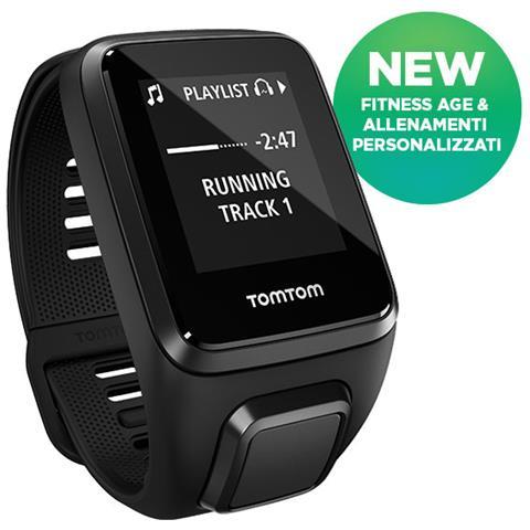 TOMTOM Spark 3 Impermeabile 5ATM Sportwatch GPS con Cardiofrequenzimetro Integrato per Fitness Taglia S Nero