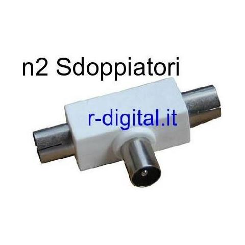 r2digital Coppia Adattatore Y Sdoppiatore Antenna Tv 2 Jack Maschio Femmina Spina Doppiatore Blister