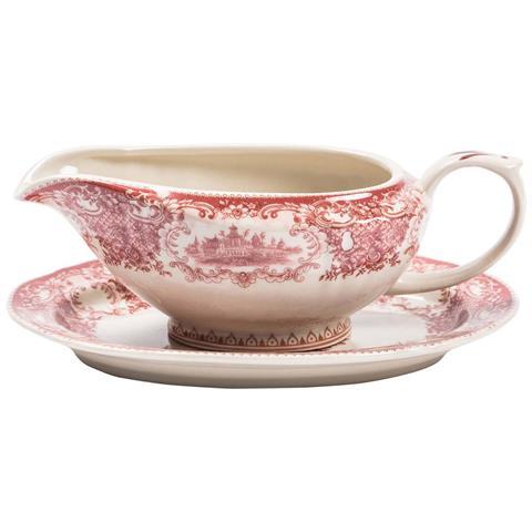Coppia Salsiere Con Vassoio In Stile Inglese L19xpr13xh8 Cm In Ceramica Decorata Bianca E Rossa