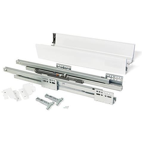 3018312 Kit Per Cassetto In Acciaio Con Chiusura Ammortizzata, Bianco, H83 X 500mm