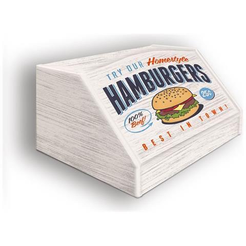 Lupia Portapane Con Decoro In 'hamburgers' In Legno Shabby Dalle Dimensioni Di 30x40x20 Cm