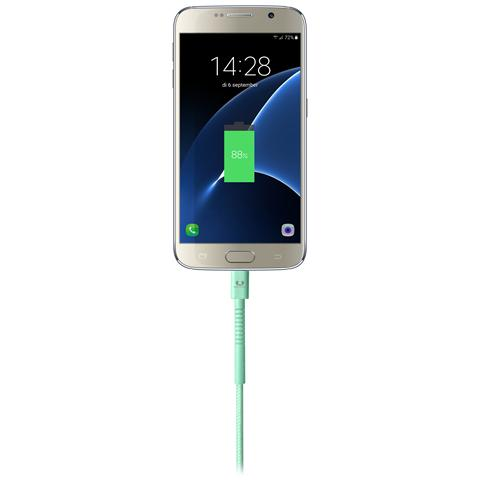FRESH N REBEL Cavo Micro-USB Fabriq Lunghezza 3 metri - Verde Acqua