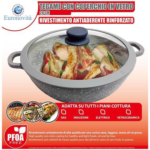 Padella Griglia Tegame Wok Con Manici Serie Pietra Colore Grigio 28 X 28 X 10 Cm