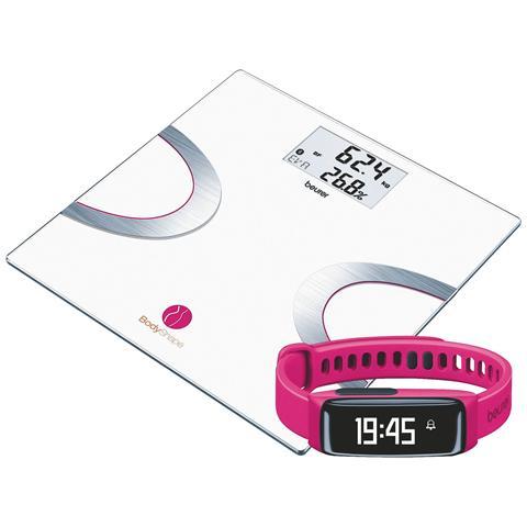 BEURER BF710+AS81 BodyShape System Bilancia Diagnostica + Sensore Attività Colore Rosa + App BodyShape