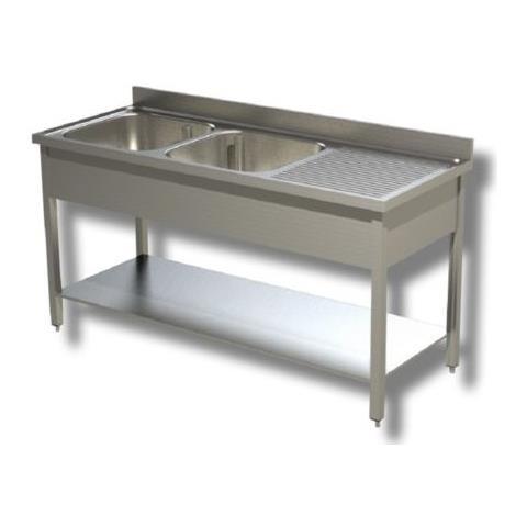 Lavello 150x70x85 Acciaio Inox 430 Su Gambe Ripiano Cucina Ristorante Rs4752