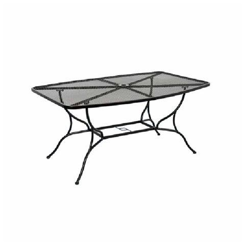 Tavolo da giardino rettangolare in acciaio con piano grigliato 151x97 cm