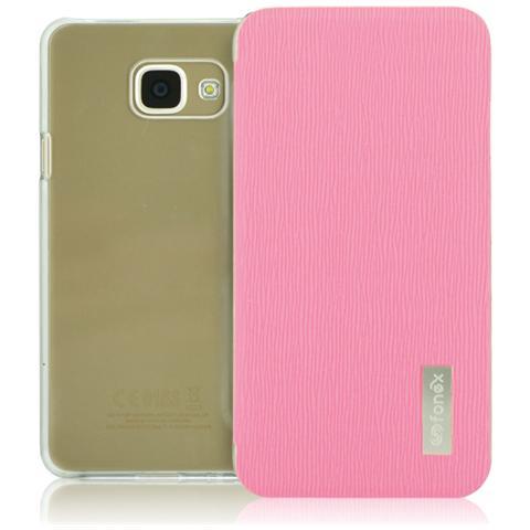 FONEX Crystal Slim Custodia a Libro con Back Trasparente per Galaxy A3 (6) Colore Rosa