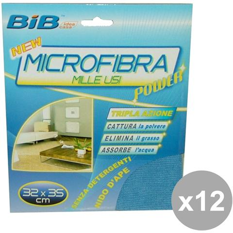 Bib Set 12 Panno Milleusi Microfibra 32x35 Cm. Attrezzi Pulizie