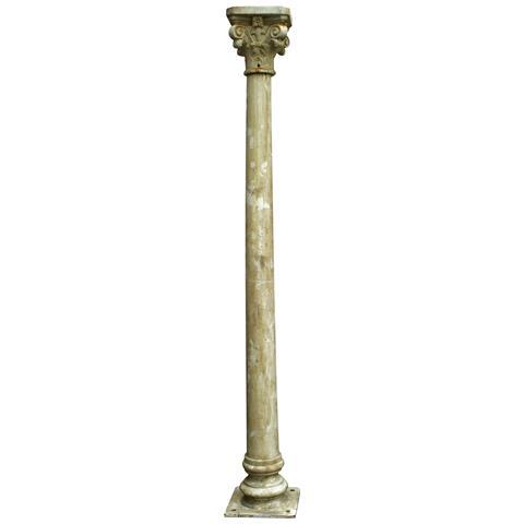 Colonna In Fusione Di Ghisa Con Capitello Finitura Bianca Anticata 36x36x260 Cm