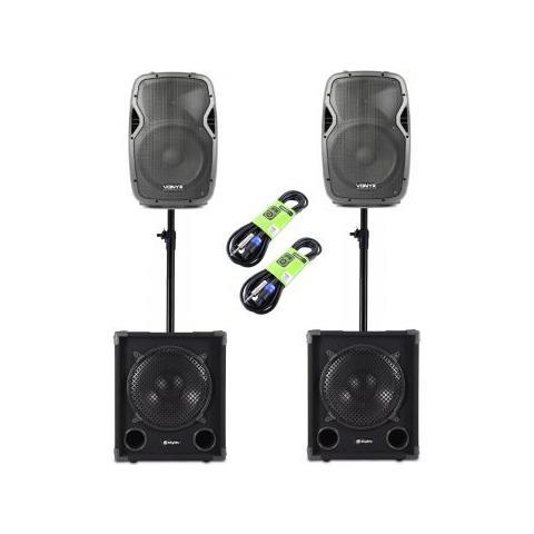 "SHARD-STAR Impianto Audio Professionale 2700w 2 Casse 10"" + 2 Sub 12"" + 2 Distanziometri + 2 Cavi Art. Set170679"