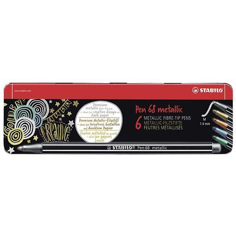 Pen 68 Metallic Scatola Metallo Da 6 Pz. in 5 Col. (2 Argento, 1 Oro, 1 Bronzo, 1 Blu, 1 Verde)