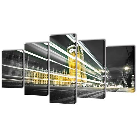 vidaXL 5 Pz Set Stampa Su Tela Da Muro Londra Big Ben 100 X 50 Cm