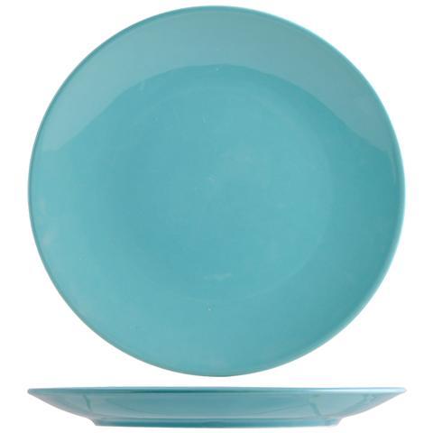 H&H Set 6 Piatto Coupe Iris Azzurro Piano 26 Tableware