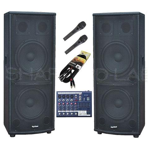 plug & sound Impianto Karaoke - Sistema Audio Amplificato: 2 Casse Attive + Mixer + 2 Microfoni + Cavi