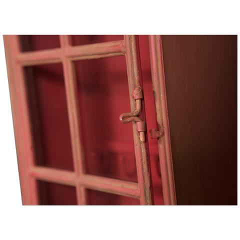 BISCOTTINI Appendichiavi A Forma Di Cabina In Ferro Finitura Rossa Anticata L24xpr9xh58 Cm