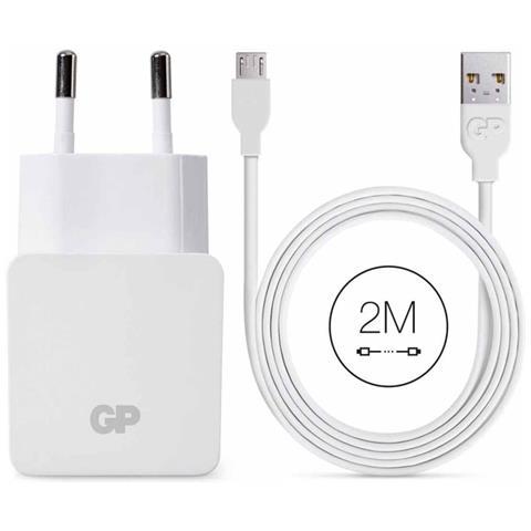 GP BATTERIES Caricatore da Muro USB WA23 con Cavo Micro USB 2 m