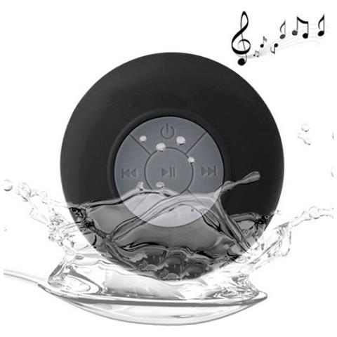 NetworkShop Cassa Speaker Bluetooth Con Mic Waterproof Ipx4 Nero Per Iphone Smartphone