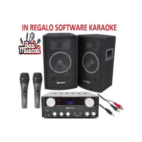 Skytec Sistema Amplificato Karaoke 2 Casse Passive Amplificatore Cavi Art 178727kit