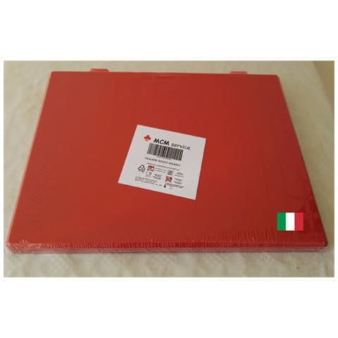 Taglieri In Polietilene Rosso 50x30x2 Con Fermi