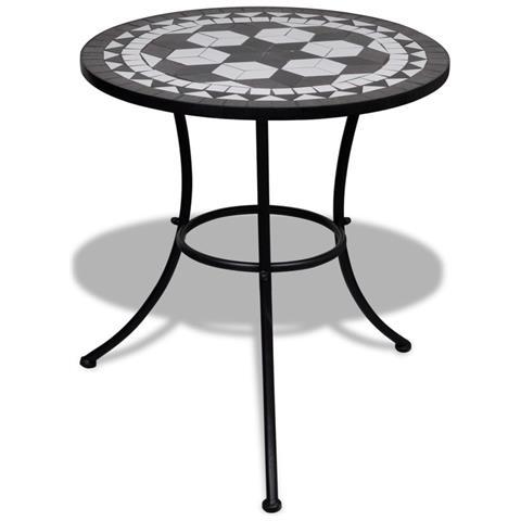 Tavolo Con Mosaico 60 Cm Nero / Bianco