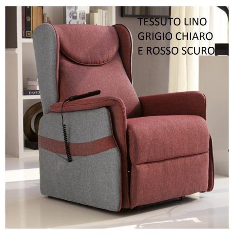 Stones Poltrona Relax Laura 2 Motori Con Alzapersona In Lino Grigio Chiaro E Rosso Scuro
