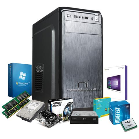 Image of Pc Desktop Intel Quad Core 2.42 Ghz Con Licenza Windows 10 Pro 64 Bit Originale 4 Gb Di Ram Hard Disk 1000 Gb Wifi Assemblato
