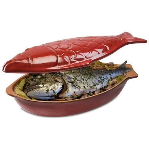 Pesciera Cuoci Pesce Con Coperchio Terracotta 33x19 Cm Made In Italy