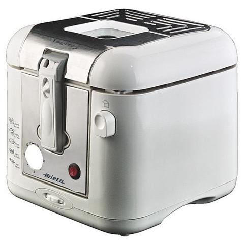Easy Fry Metal Friggitrice Smontabile Capacità Olio 2.9 Lt Potenza 2000 Watt Colore Inox / Bianco