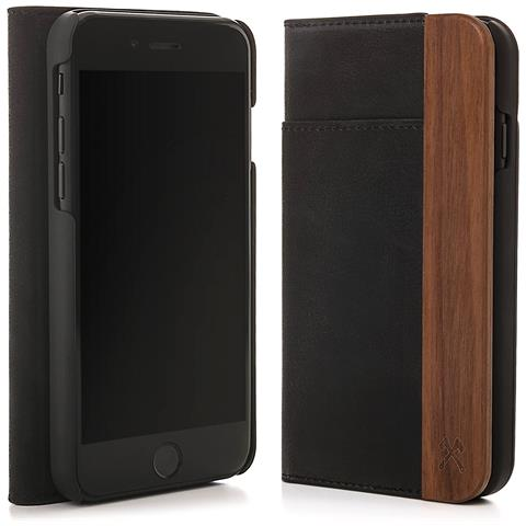 WOODCESSORIES Flip Cover Custodia in Legno Naturale per iPhone X Colore Noce e Nero