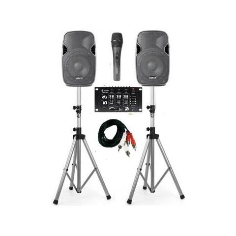 SHARD-STAR Impianto Audio Completo Karaoke Live 400w Casse -mixer - Cavi - Stativi E Microfono Art. Setkara1