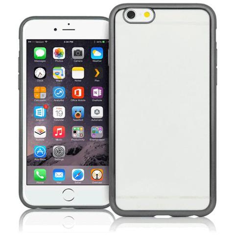 FONEX Sparkling Cover in Morbido TPU con Bordi ad Effetto Metalizzato per iPhone 6 Plus / 6S Plus Colore Trasparente / Nero