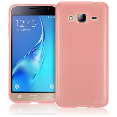 FONEX Inv Cover Ultra Sottile 0,2 mm in Morbido TPU per Galaxy J3 (6) Colore Rosso Trasparente