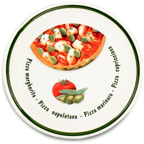 HOME Piatto Pizza Ceramica 4 Stagioni Cm34 Piatti Da Tavola
