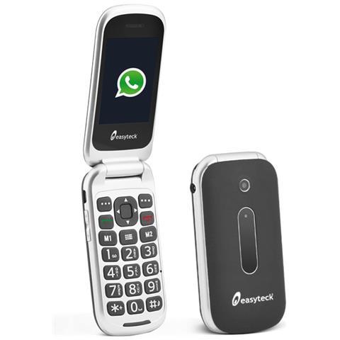 "EASYTECK T710 Cellulare Senior Colore Nero Whatsapp Wi-Fi 3G Chiusura Flip Bluetooth SOS Dual Sim Display 2.4"" RICONDIZIONATO"