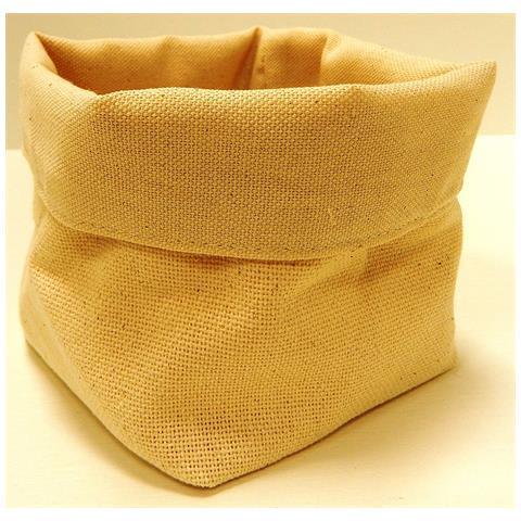 FIMEL Cestino Pane In Tessuto Di Cotone Colore Beige Misura 11 X 11 X H. 12 Cm