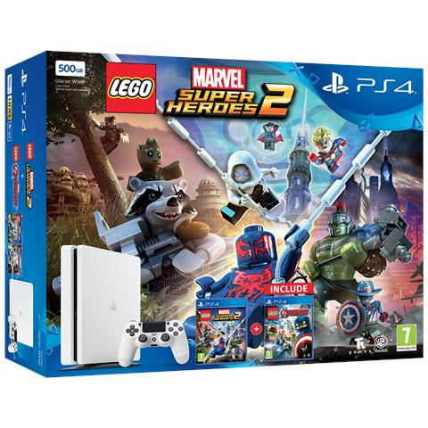Image of Console Playstation 4 PS4 500 Gb Slim White + LEGO Marvel Super Heroes 2 + LEGO Avengers Limited Bundle